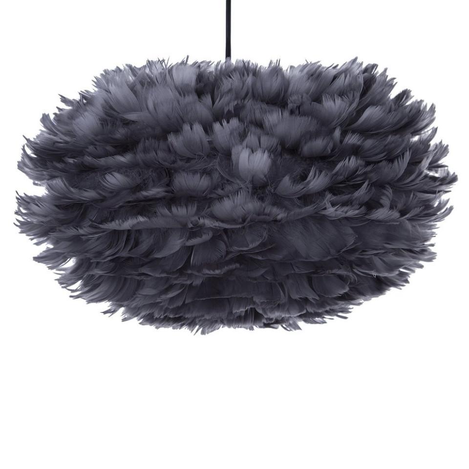 Pendul cu abajur din pene FOG, gri inchis, cablu negru, 35 x 20 cm