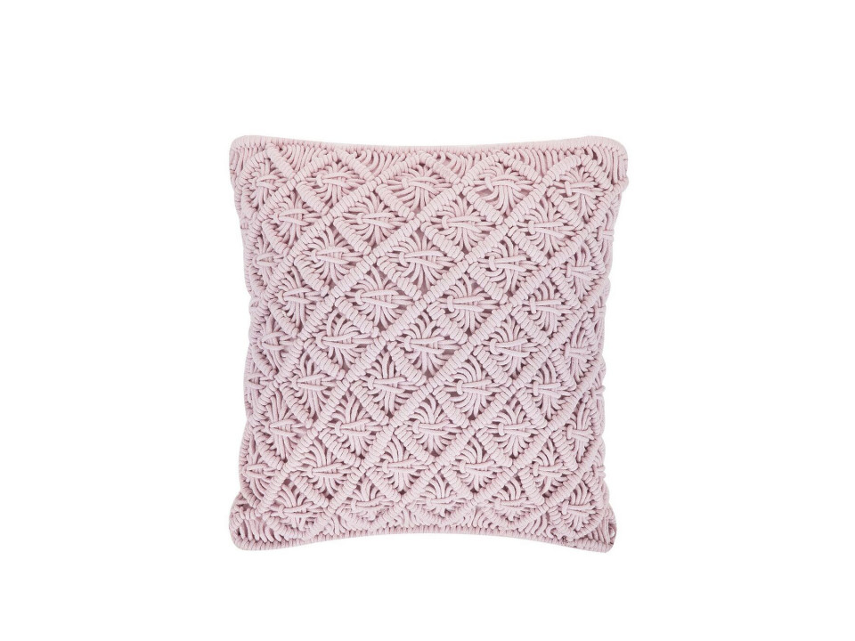Pernă de bumbac macrame KIZKALESI, roz, 45 x 40 cm poza chilipirul-zilei.ro