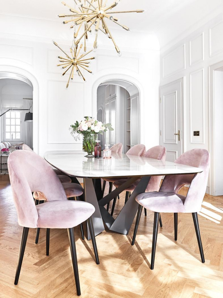 Scaun tapitat Rachel catifea/metal, roz pudra, 53 x 89 x 57 cm