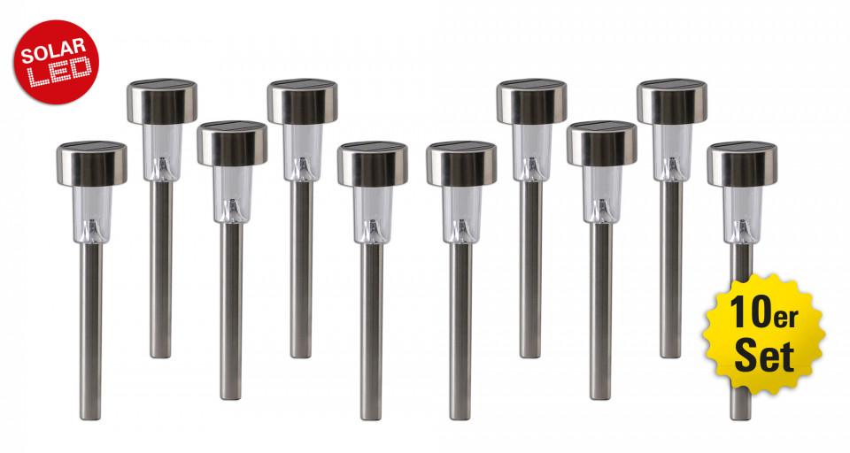 Set de 10 lampi Genova, LED, plastic, argintii, 6 x 25 x 6 cm,