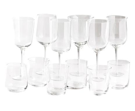 Set de 12 pahare transparente Diseguale imagine chilipirul-zilei.ro