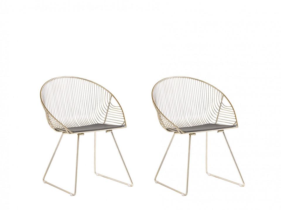 Set de 2 scaune AURORA, metal, aurii, 65 x 54 x 77 cm