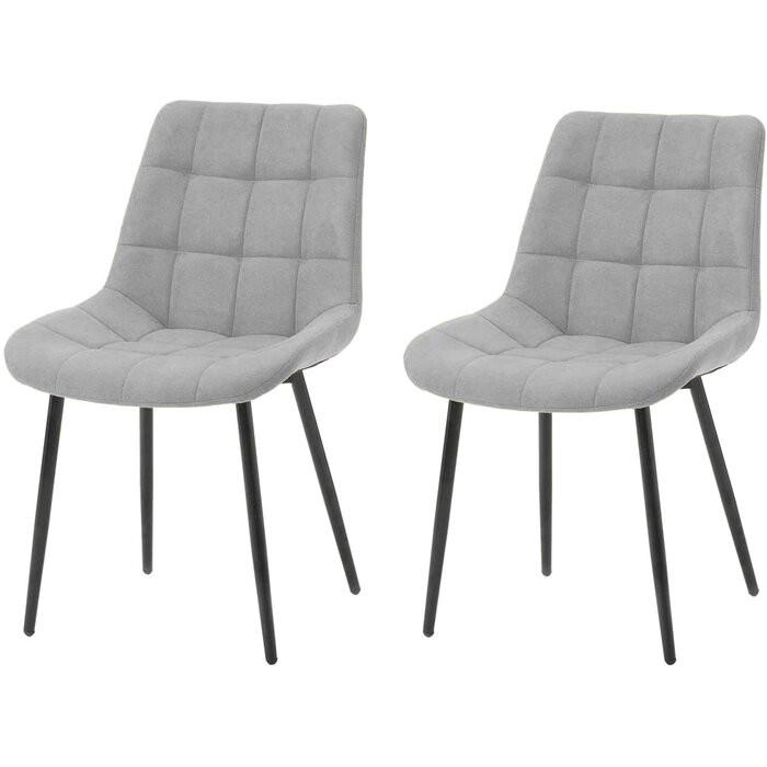 Set de 2 scaune captusite Manawa, gri, 83 x 44 x 44 cm
