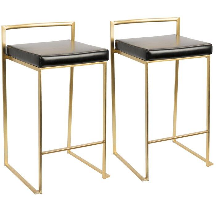 Set de 2 scaune de bar Daggett, metal/piele, 68 x 44 x 41 cm