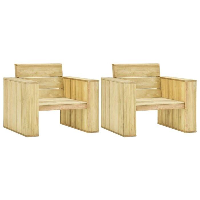 Set de 2 scaune de gradina Jeffers, lemn masiv, 76 x 89 x 76 cm
