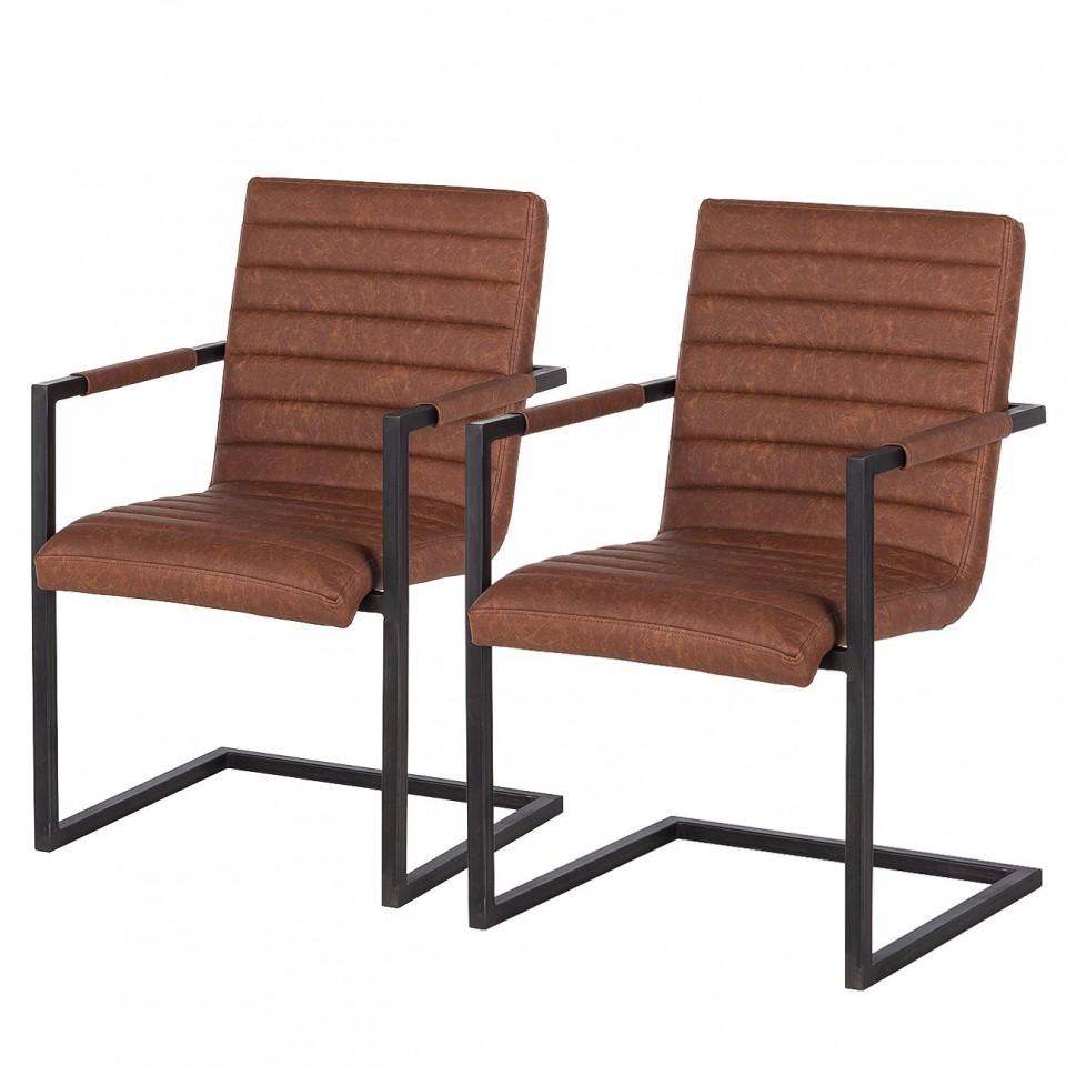 Set de 2 scaune Kaledos imitatie piele/metal, maro, 59 x 85 x 55 cm poza chilipirul-zilei.ro