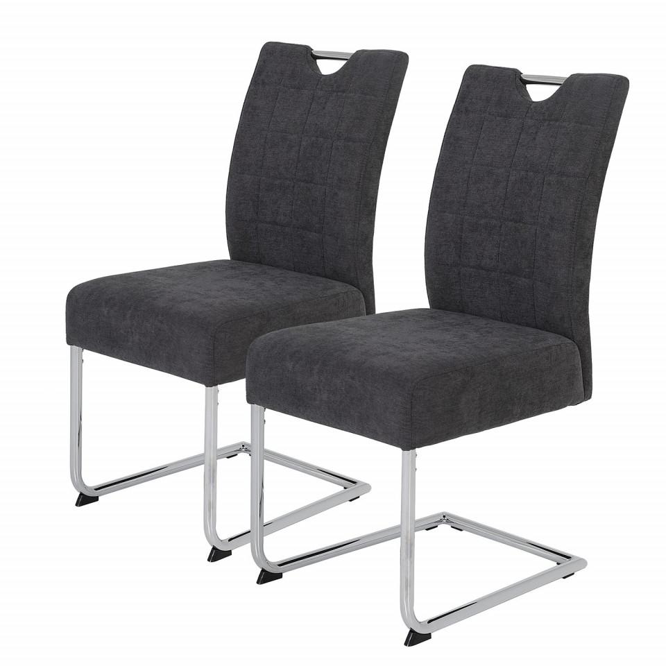 Set de 2 scaune Lopten I tesatura/otel, gri, 44 x 96 x 58 cm poza chilipirul-zilei.ro