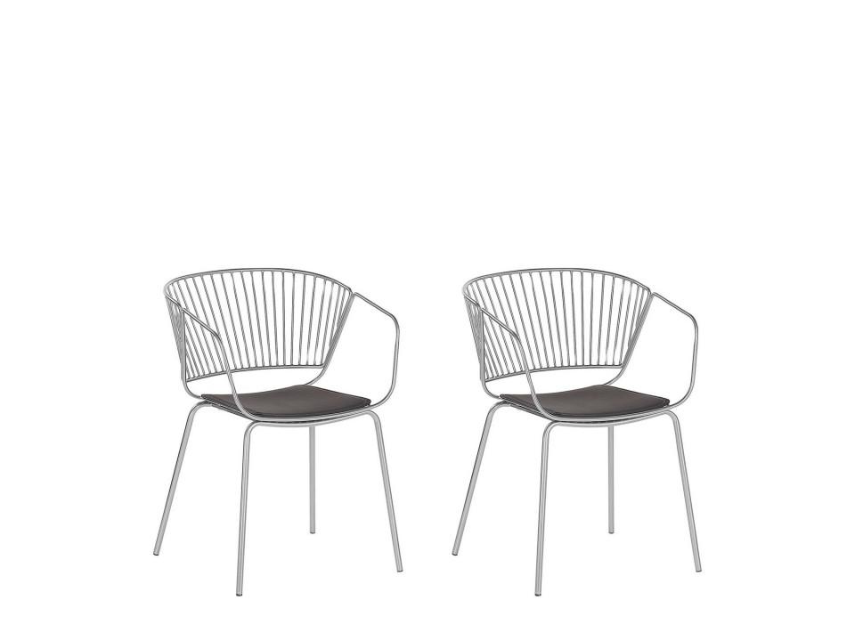 Set de 2 scaune Rigby, metal, argintiu/negru, 54 x 49 x 77 cm image0
