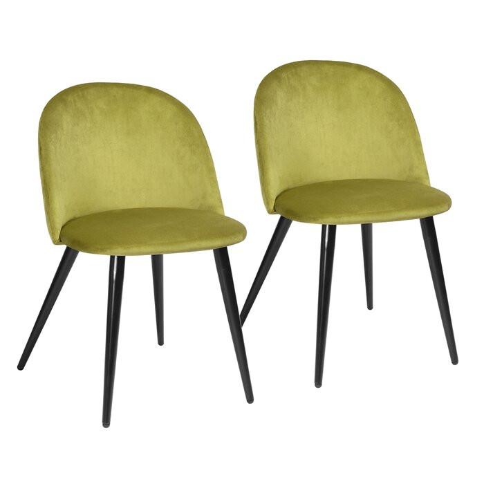 Set de 2 scaune tapitate Alto, Galbene, 77,5 x 49 x 49,5 cm