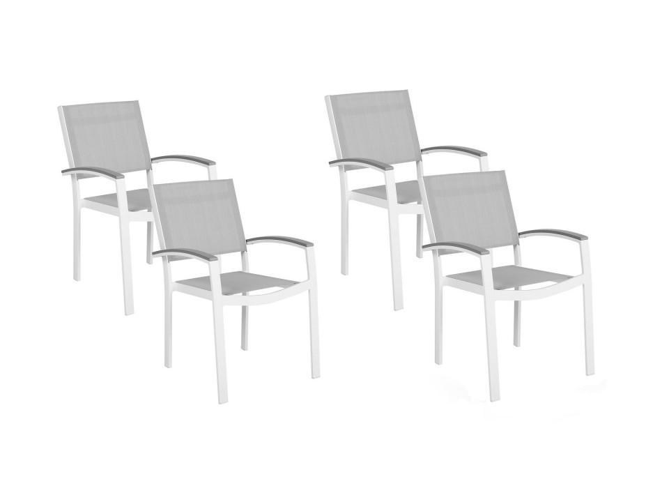 Poza Set de 4 scaune de gradina PERETA, PVC/poliester, albe/gri, 46 x 50 x 86 cm