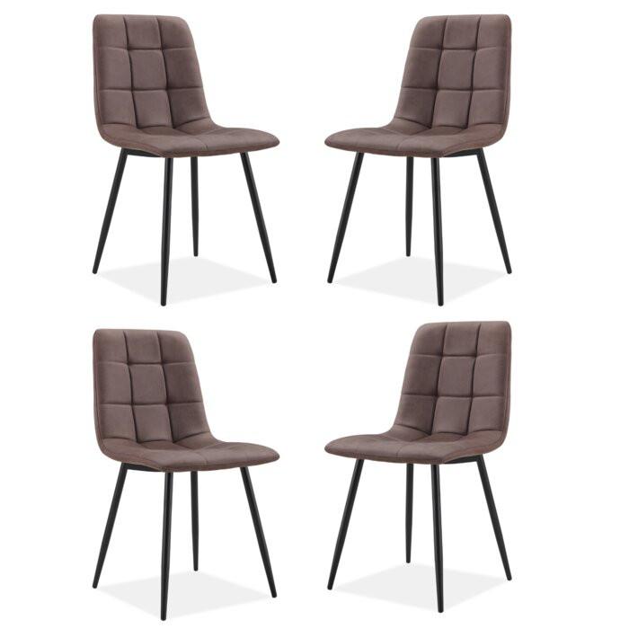 Set de 4 scaune tapitate, Maro, 87 x 47 x 59 cm