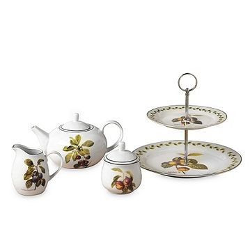 Set de ceai Orchard Fruits, 4 piese, portelan, alb 2021 chilipirul-zilei.ro