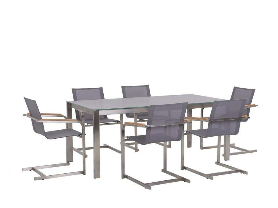 Set de masa si 6 scaune pentru gradina Cosolet, gri/argintiu chilipirul-zilei.ro