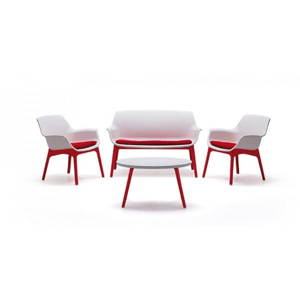 Set Luxor Lounge alb-rosu/taupe-maro, 2 fotolii, 1 canapea, 3 perne, 1 masa