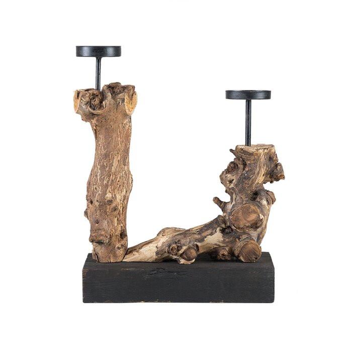 Suport pentru lumanari, lemn, maro, 33 x 25 x 12 cm imagine chilipirul-zilei.ro