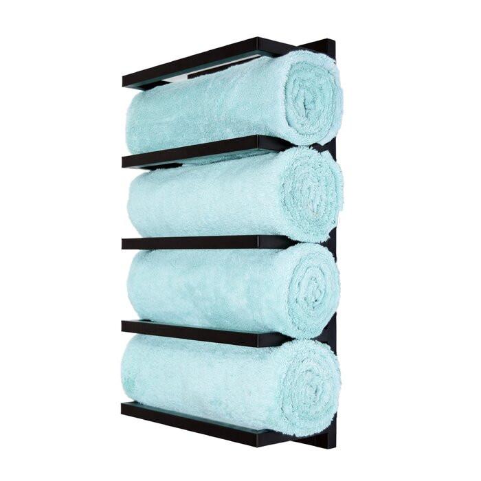 Suport pentru prosoape, metal, negru, 57 x 31 x 15 cm