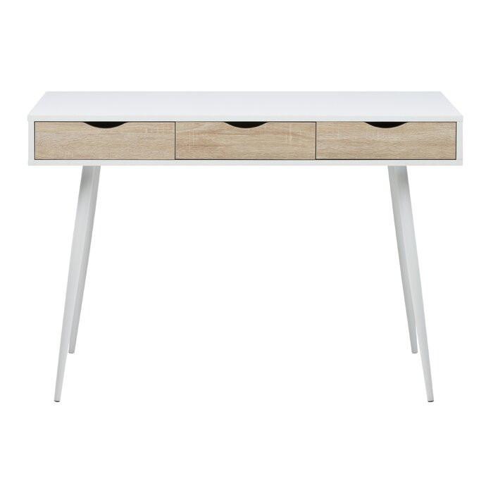 Birou Casson, lemn/metal, alb/maro, 77,1 x 110 x 50 cm