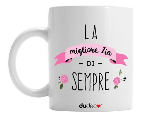 Cana decorativa Migliore zia, ceramica, alb 2021 chilipirul-zilei.ro