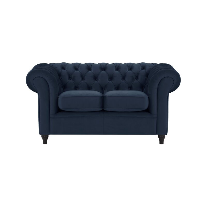 Canapea Chesterfield cu 2 locuri, albastru