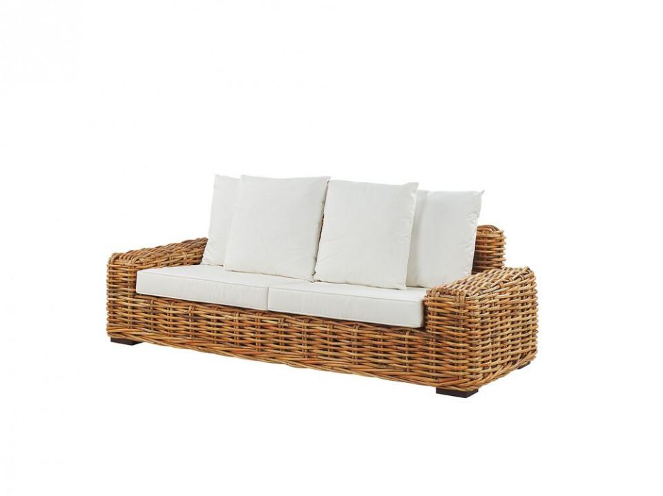 Canapea din ratan Forli, cu 3 locuri, maro deschis imagine chilipirul-zilei.ro