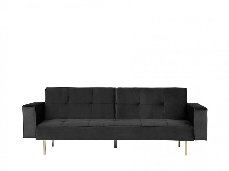 Canapea extensibila VISNES, lemn/catifea, neagra, 80 x 218 x 81 cm