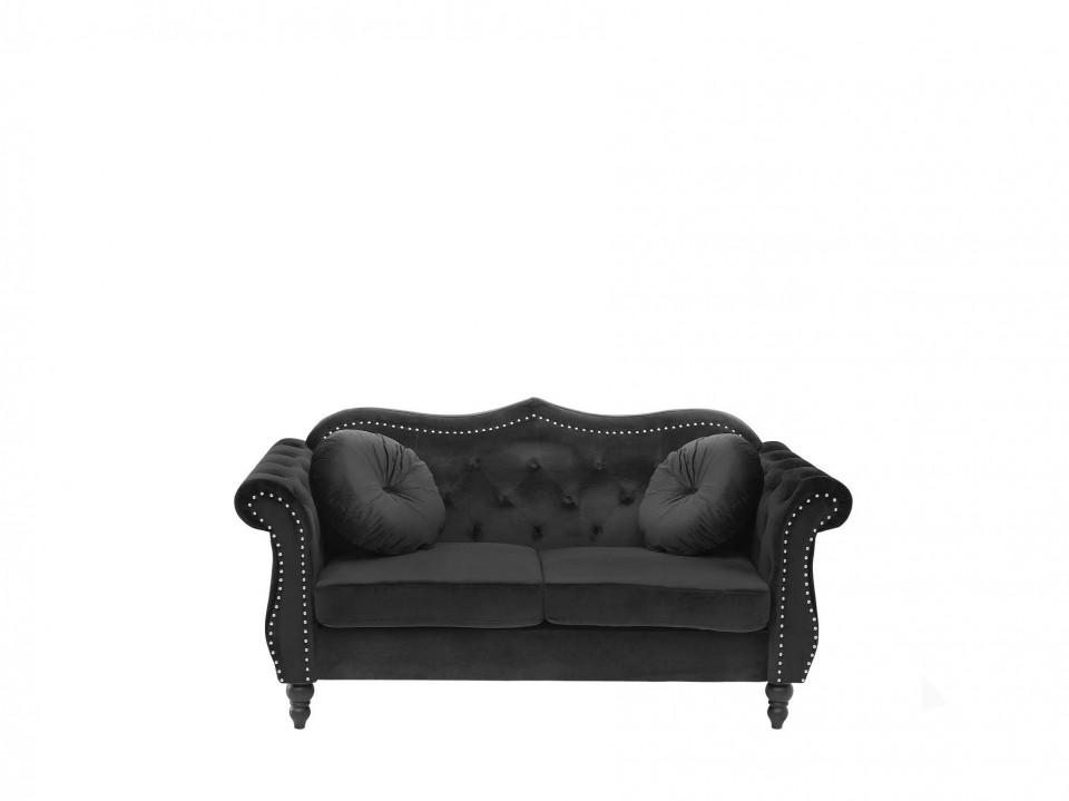 Canapea SKIEN, lemn/catifea, neagra, 91 x 165 x 83 cm