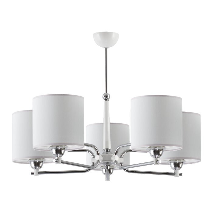 Candelabru cu 5 lumini Klem, crom/alb, 60 x 72 x 72 cm title=Candelabru cu 5 lumini Klem, crom/alb, 60 x 72 x 72 cm