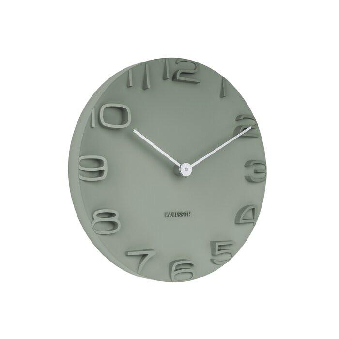 Ceas de perete Karlsson, metal, verde, 42 x 42 x 5 cm 2021 chilipirul-zilei.ro