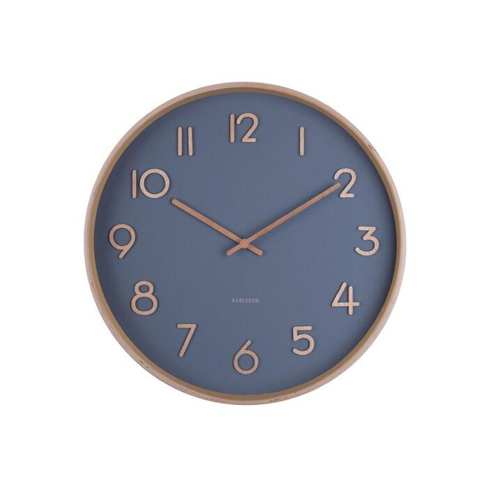 Ceas de perete Pure, lemn/sticla, albastru/maro, 40 x 40 x 4,5 cm imagine 2021 chilipirul zilei