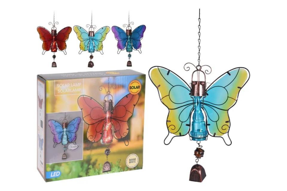 Decoratiune Fluture Kall cu lumina solara si clopotel chilipirul-zilei.ro