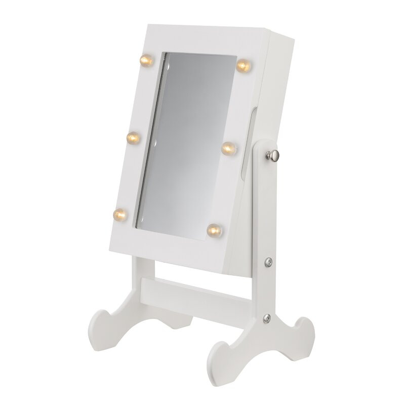 Dulap cu oglindă pentru bijuterii Jaren, alb, 35cm H x 26cm W x 18cm D