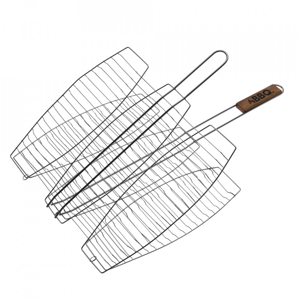 Grill pentru 3 pesti, suport inox, Karll, 66 x 41,5 x 2,5 cm imagine chilipirul-zilei.ro