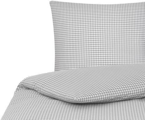 Lenjerie de pat din bumbac cu carouri Scotty, gri / alb