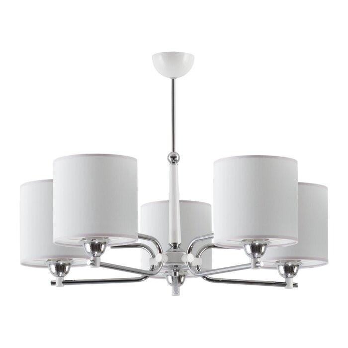 Candelabru cu 5 lumini Klem, crom/alb, 60 x 72 x 72 cm