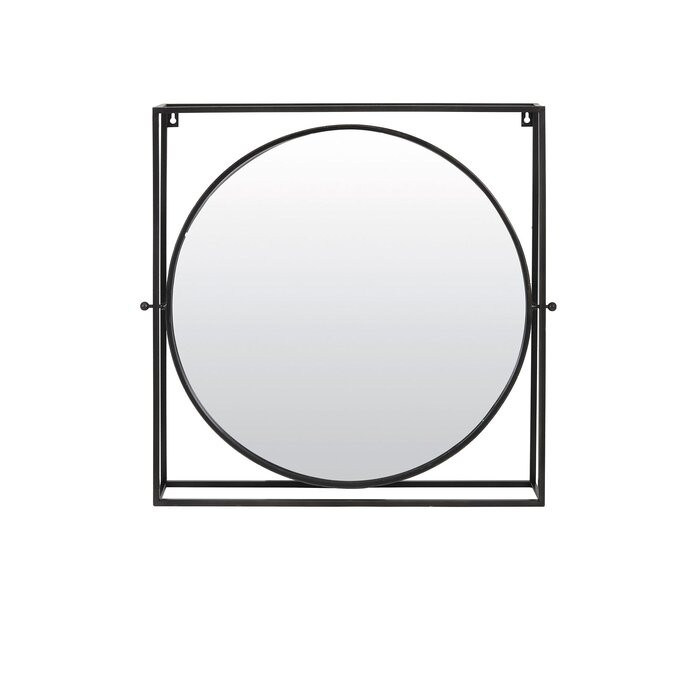 Oglinda Michigan, metal, neagra, 65,5 x 65 x 12 cm imagine chilipirul-zilei.ro
