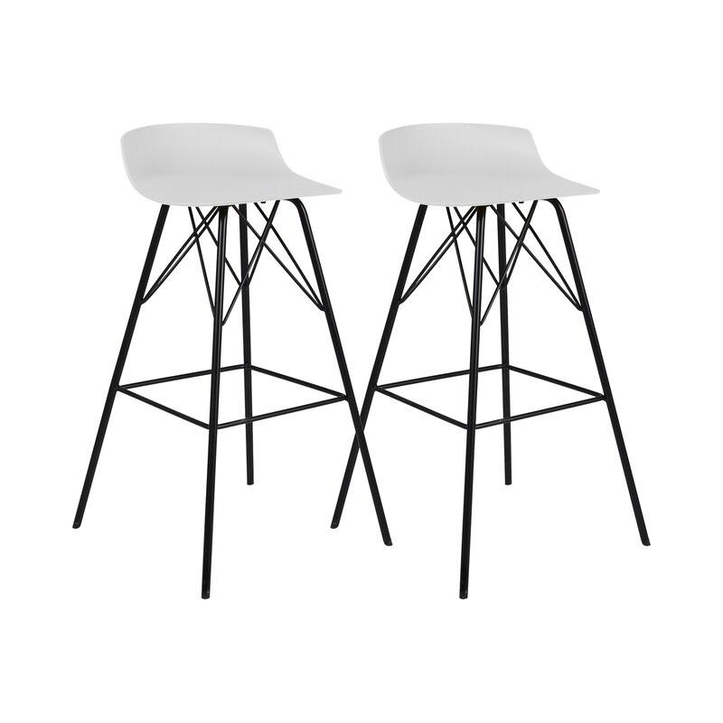 Set de 2 scaune de bar Gabija 71cm, alb/negru, plastic/metal