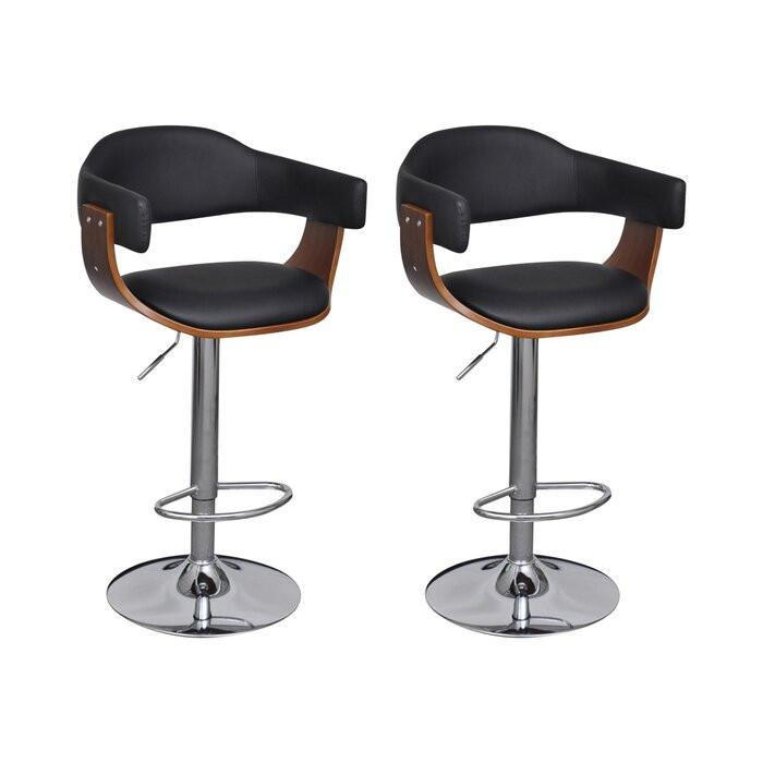 Set de 2 scaune de bar, PAL/metal, maro/negru, 54 x 46,5 cm chilipirul-zilei.ro