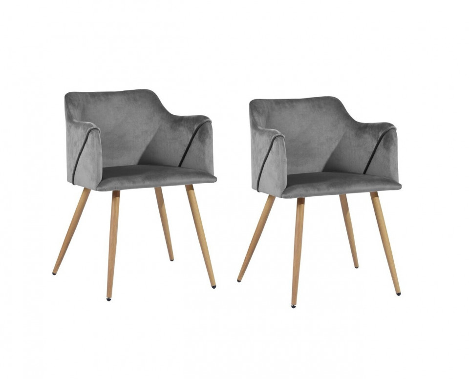 Set de 2 scaune Sofiya, metal/poliester, gri, 75 x 52 x 52 cm