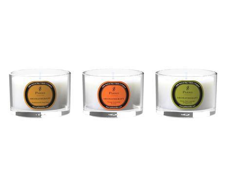 Set de 3 candele Aromaterapie Sandalwood/Arancio/Vetiver imagine 2021 chilipirul zilei