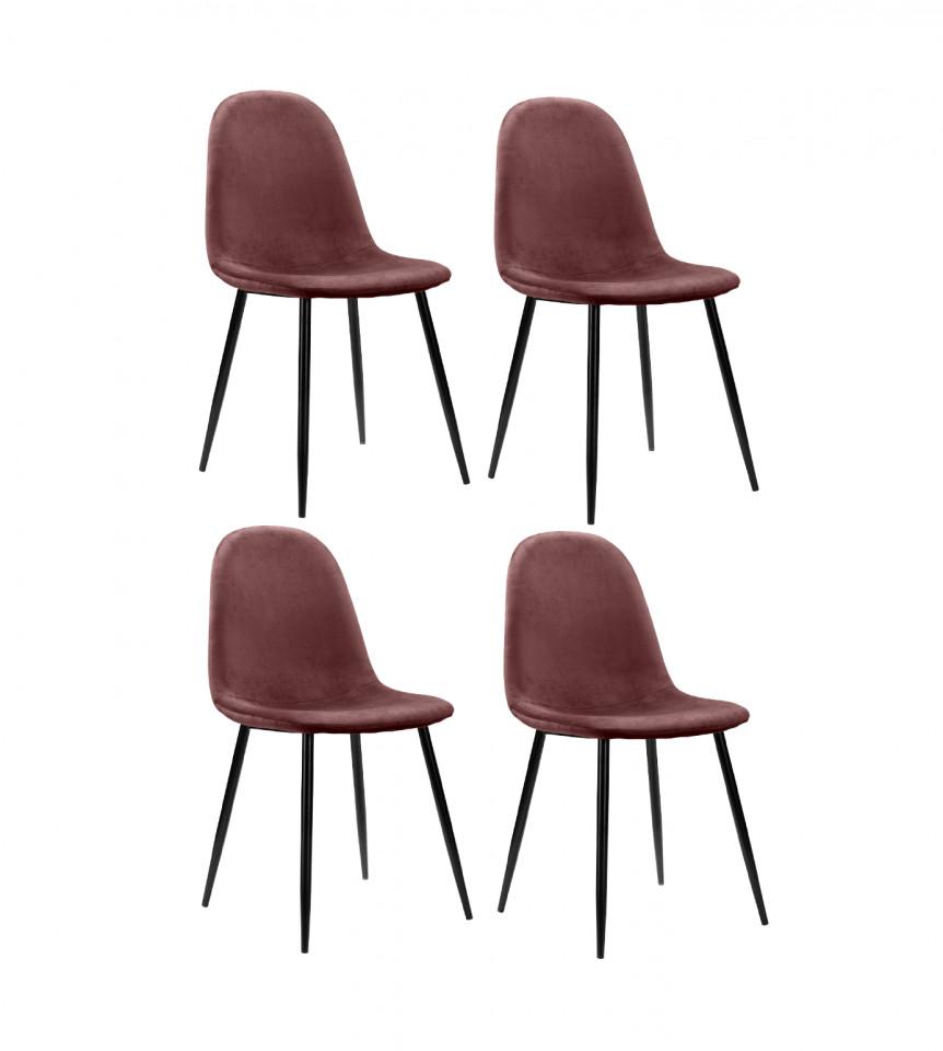 Set de 4 scaune Monza Eadwine, roz inchis, 160 x 90 x 76cm poza chilipirul-zilei.ro