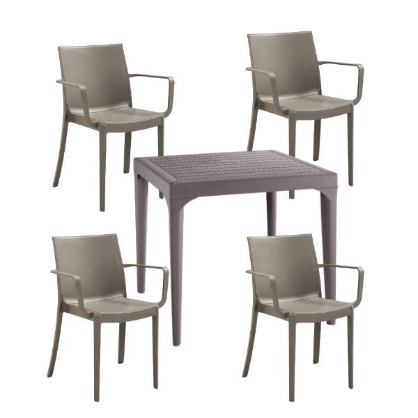 Set de 4 scaune Victoria si masa Malmo din polipropilena, taupe