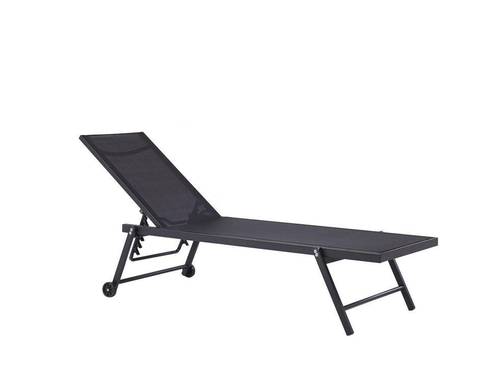 Sezlong reclinabil Portofino, negru, 198 x 65 x 107 cm image0