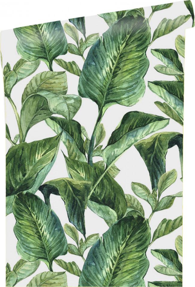 Tapet Leaves Alb / Verde, 250x90cm