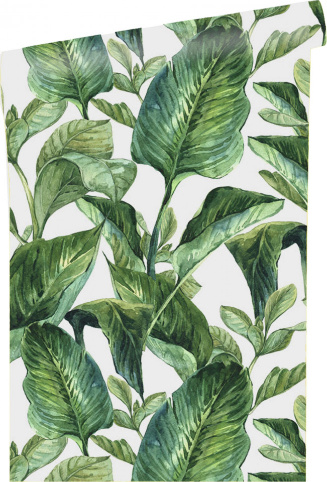 Tapet Leaves alb / verde, 250x90cm chilipirul-zilei 2021