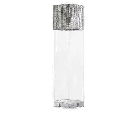 Vaza gri glam / transparent, H 50 cm