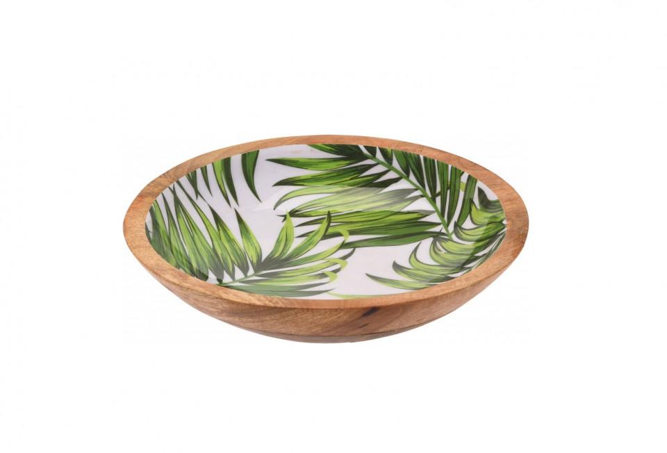 Bol Karll din lemn de mango, model frunze, 30 cm diametru