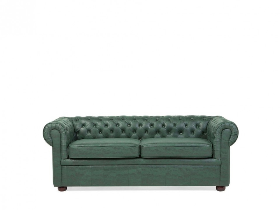 Canapea Chesterfield cu 3 locuri din piele verde