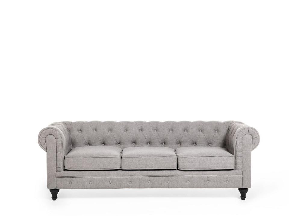 Canapea Chesterfield, textil, gri deschis, 202 x 75 x 70 cm poza chilipirul-zilei.ro