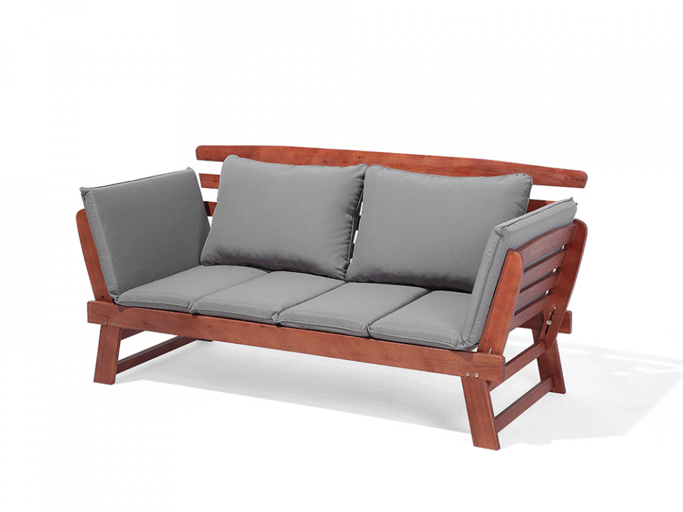 Canapea de terasa din lemn PORTICI, lemn inchis/gri