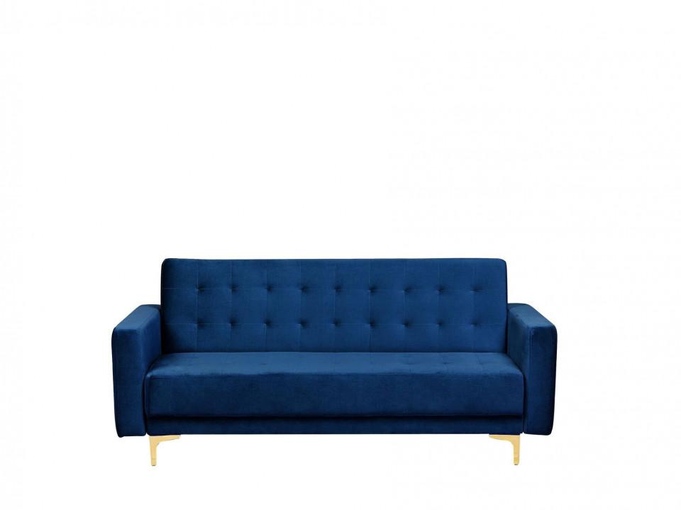 Canapea extensibila ABERDEEN, catifea, albastra, 83 x 186 x 88 cm 2021 chilipirul-zilei.ro